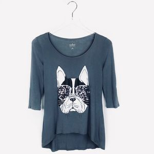 NY&CO sequin sunglasses French bulldog shirt